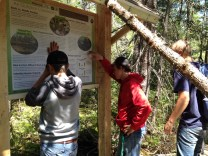 Students from Jeffers High School participated in a variety of hands-on learning activities at Robert T. Brown Plant Preserve. One of the projects included installing a new interpretive sign at the sanctuary that the students designed themselves. [Photo: Joan Chadde]