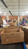 Packing food in the warehouse