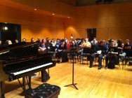 """Roundtable"" discussion with over 100 Central Michigan University students about composing and performing new music"