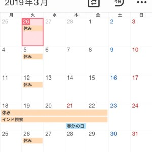2019年3月のスケジュール
