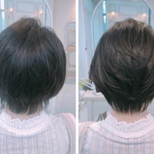 くせ毛のショートヘア。頭が四角くなるのを、内巻き縮毛矯正で解決。