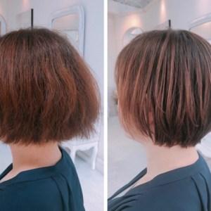 細いくせ毛で広がる。。いつも結んでる方をショートヘアで丸い縮毛矯正を