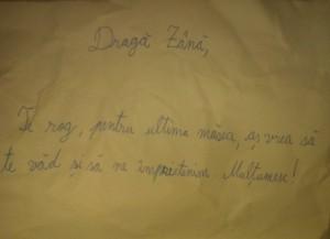 Scrisoare Zana