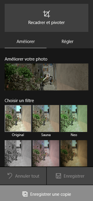 Système de filtres - application Photos