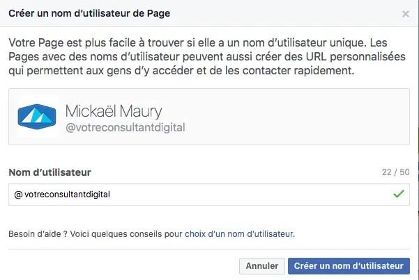 Nom d'utilisateur de Page Facebook