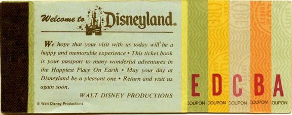 original disneyland ticket book
