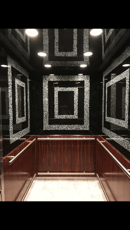 Classy and elegant elevator in the Hotel Deluxe