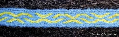 Motif Kekomäki, Kaukola (Finlande, Age du Fer) En laine filée main indigo et gaude