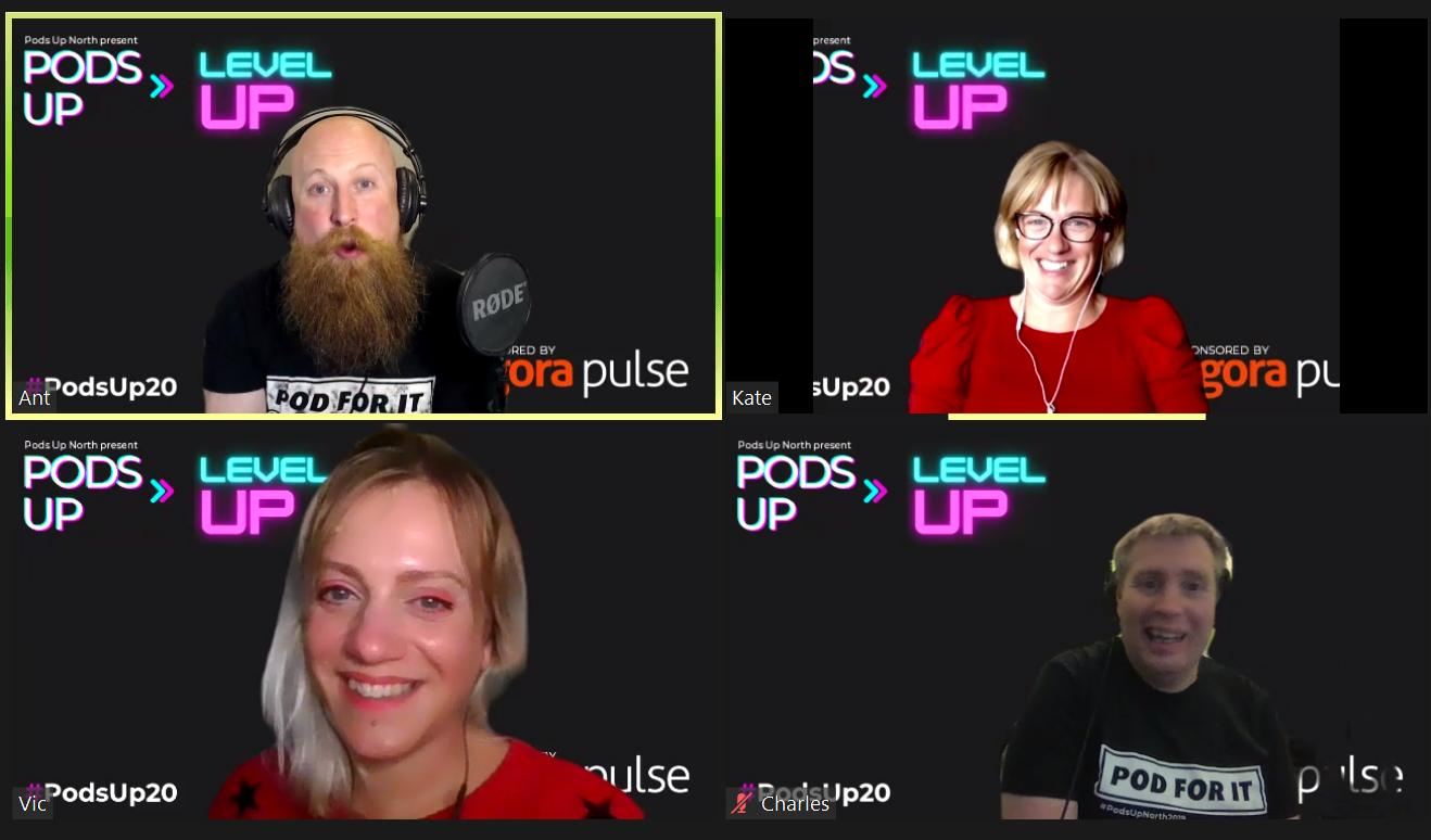 a screen grab from a video call. The screen is split into 4 sections. In each section is a different person. They all have black backgrounds