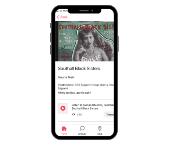 Southall Black Sisters banner on the Bloomberg Connect App with audio piece