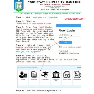 How to Apply for YSU Post UTME/ Direct entry (DE) Form