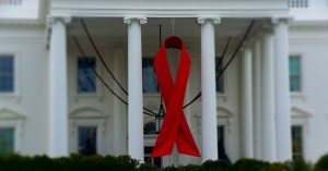 Red ribbon at the White House to commemorate World AIDS Day