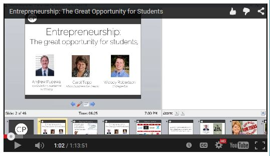 Entrepreneurship: The Great Opportunity for Students webinar recording available