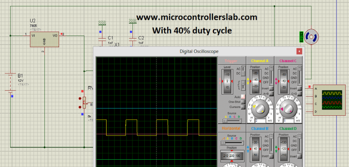 Circuit diagram of speed control of DC motor