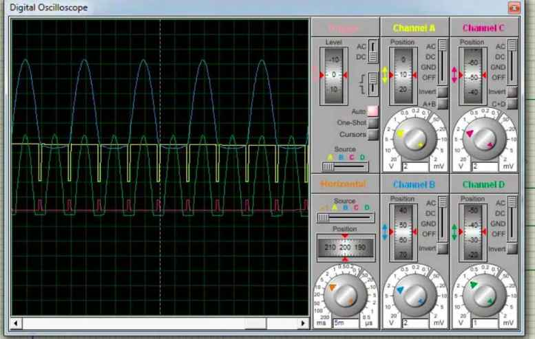 zero crossing detector circuit with pulse output using op amp simulation result