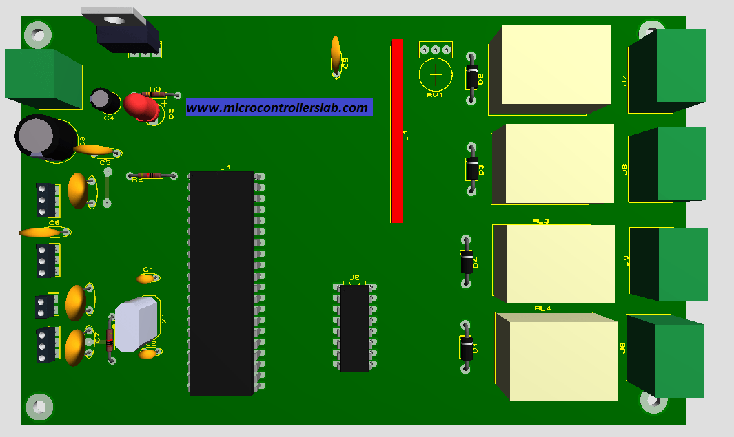 PCB diagram of schematic of green house system
