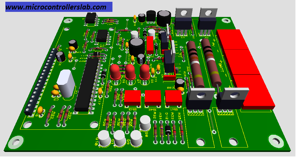front view PCB design of smart solar charger controller using pic microcontroller