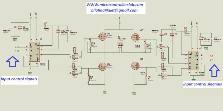 circuit diagram of h bridge using IR2110
