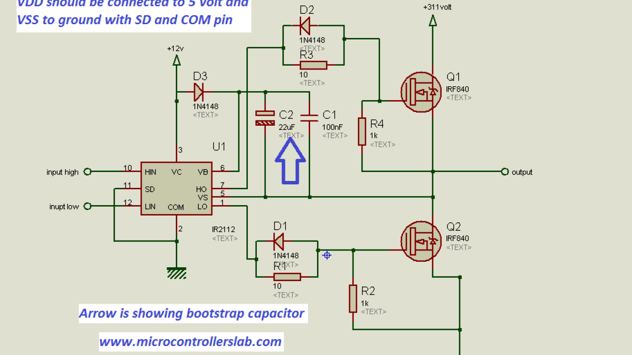How to use MOSFET DRIVER 1R2110