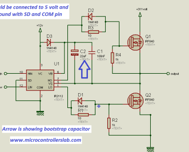 IR2110 as high side and low side mosfet driver in half bridge