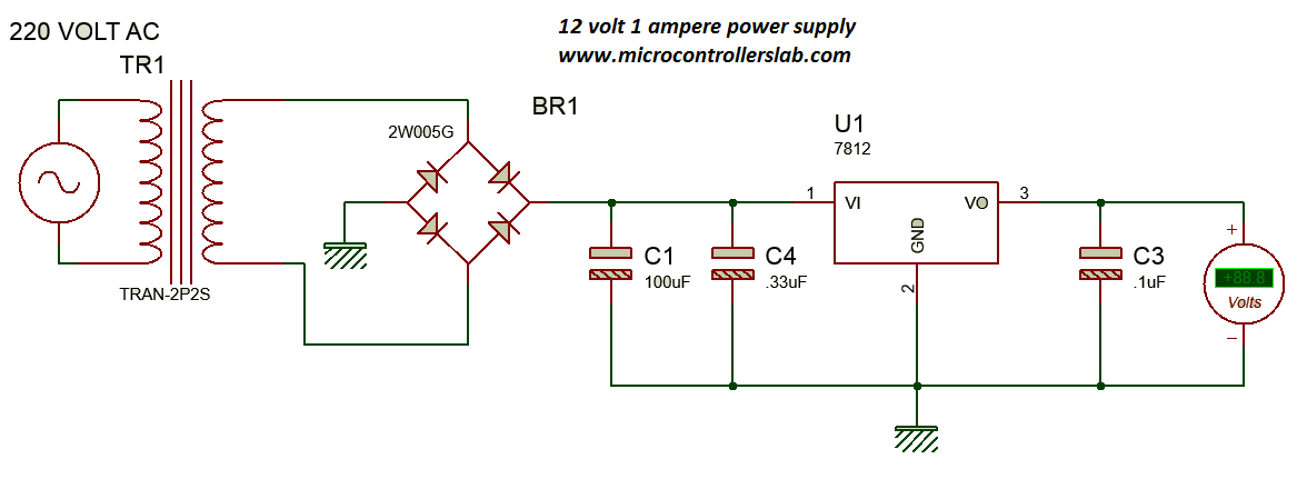 circuit diagram of 12 volt and 1 ampere power supply