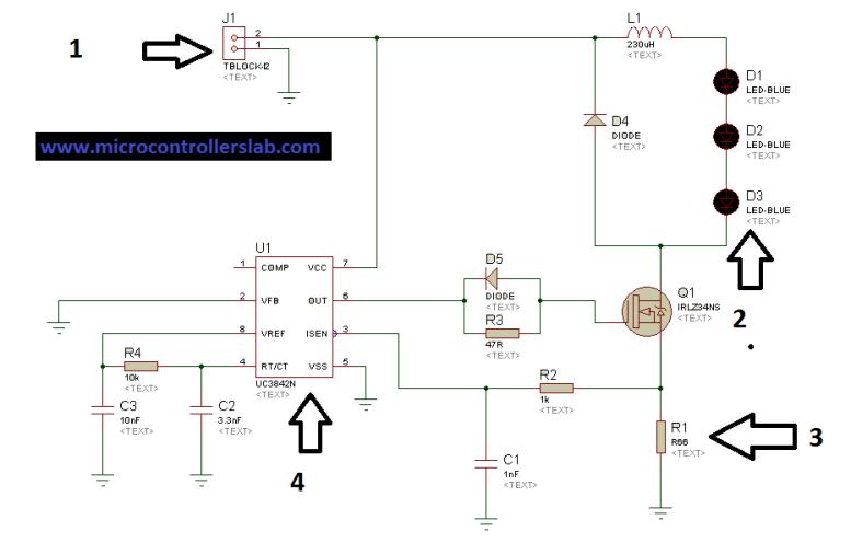 Circuit diagram of solar LED driver using UC3842
