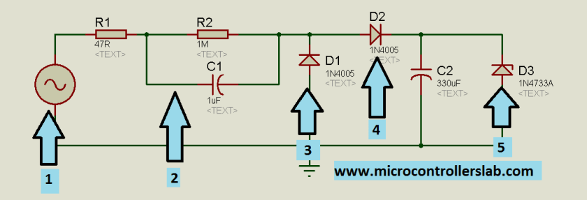 circuit diagram of tranfromerless power supply