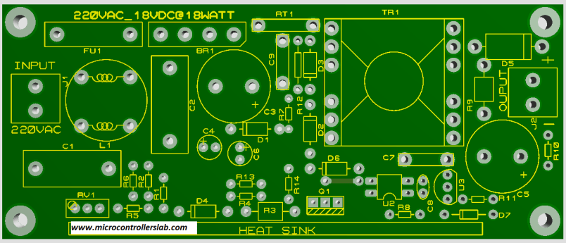 Top components placement side of PCB board