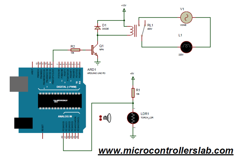light sensor and street light control using Arduino