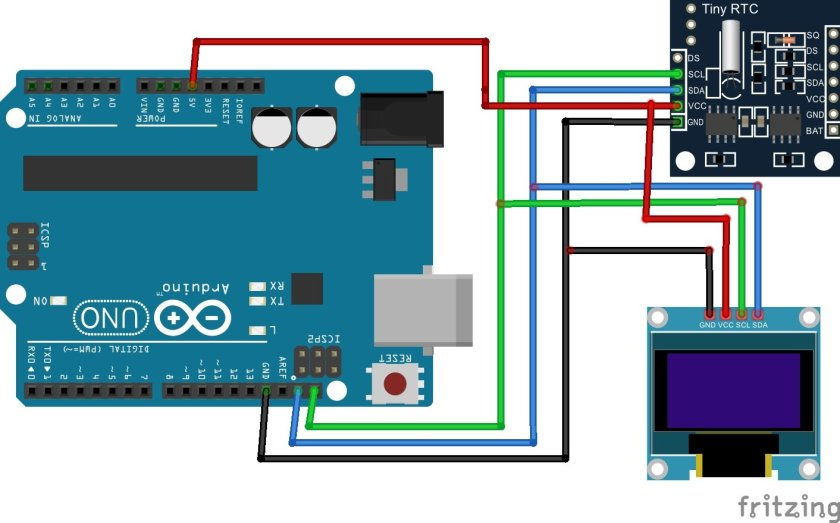 OLED with DS1307 and Arduino
