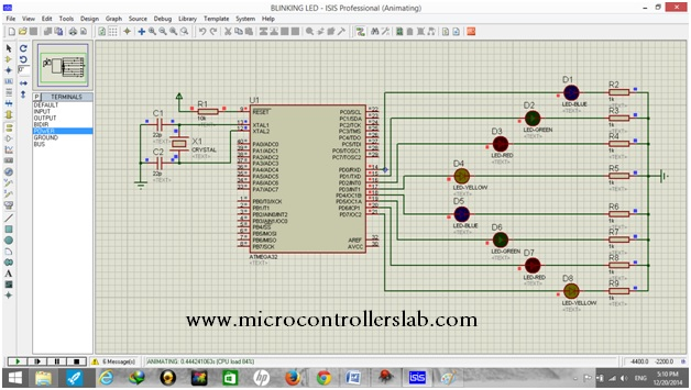 Simulation result of led blinking circuit diagra