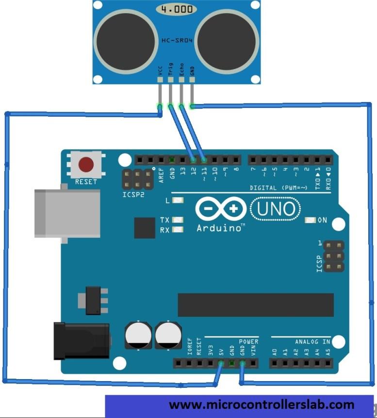 Ultrasonic sensor interfacing with Arduino Uno R3