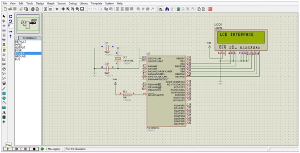 circuit diagram of LCD interfacing with PIC16F877A microcontroller