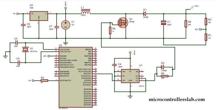 circuit diagram of boost dc to dc converter using pic microcontroller