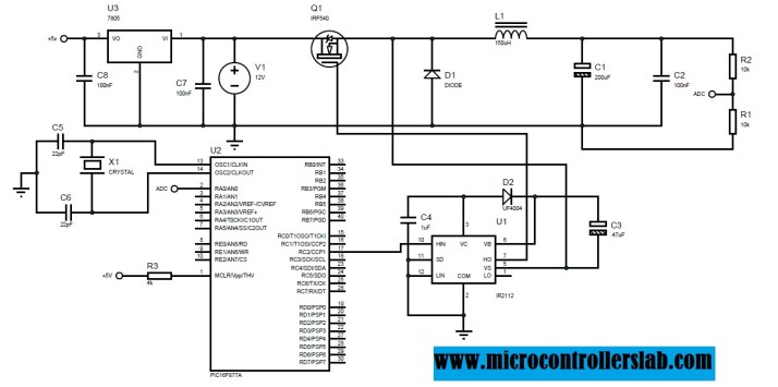 circuit diagram of buck inverter using PIC16F877A microcontroller and IR2112