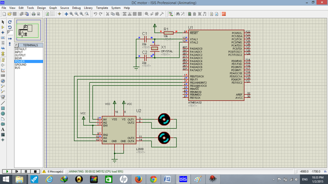 dc motor interfacing with atmega32 microcontroller  simulation