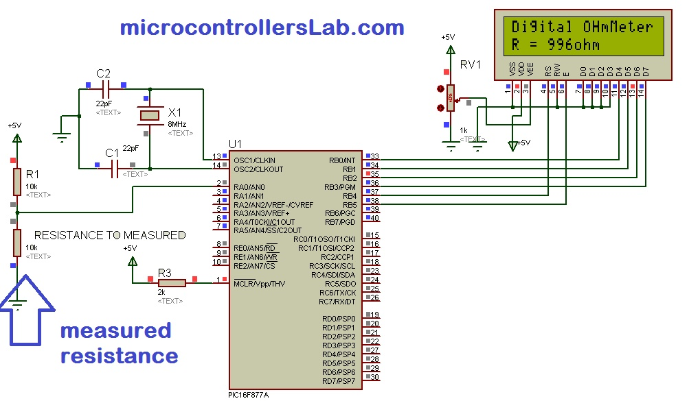 Marvelous Digital Ohmmeter Circuit And Project Using Pic Microcontroller Wiring Cloud Rectuggs Outletorg
