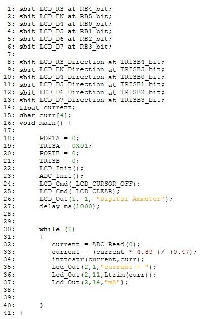 program of digital Ammeter using pic microcontroller