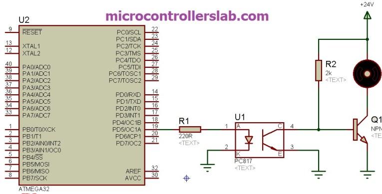 PC817 optocoupler  interfacing with avr microcontroller