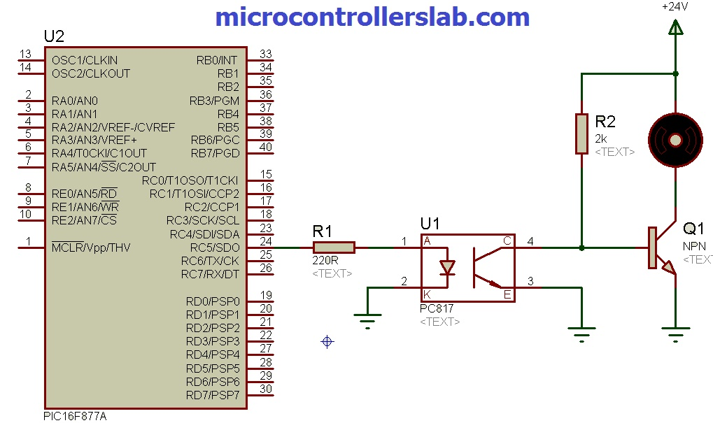 PC817 optocoupler interfacing with pic microcontroller