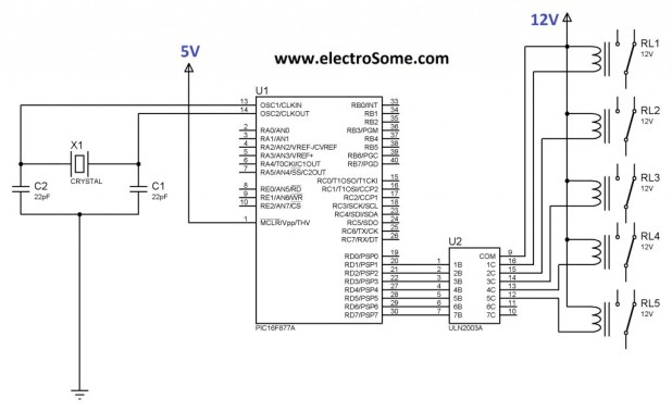 relay Interfacing pic microcontroller with ULN2003