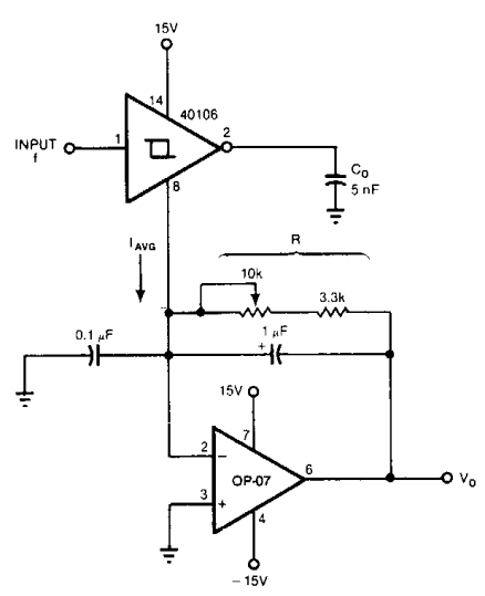 frequency to voltage converter using op-amp and RC networks
