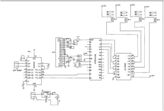 Circuit diagram of home devices control system
