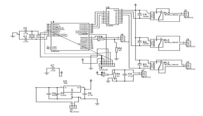 circuit diagram of bluetooth based home automation system-min