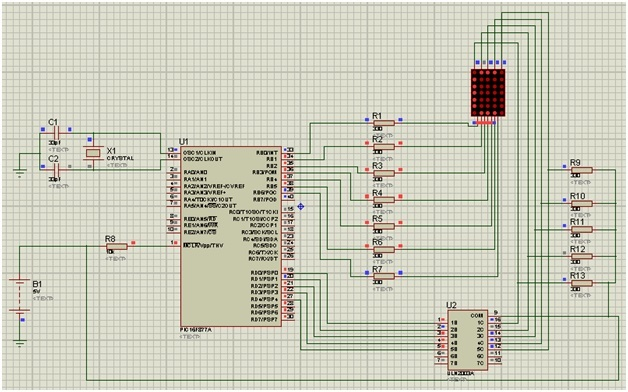 led matrix interfacing with pic microcontroller circuit diagram