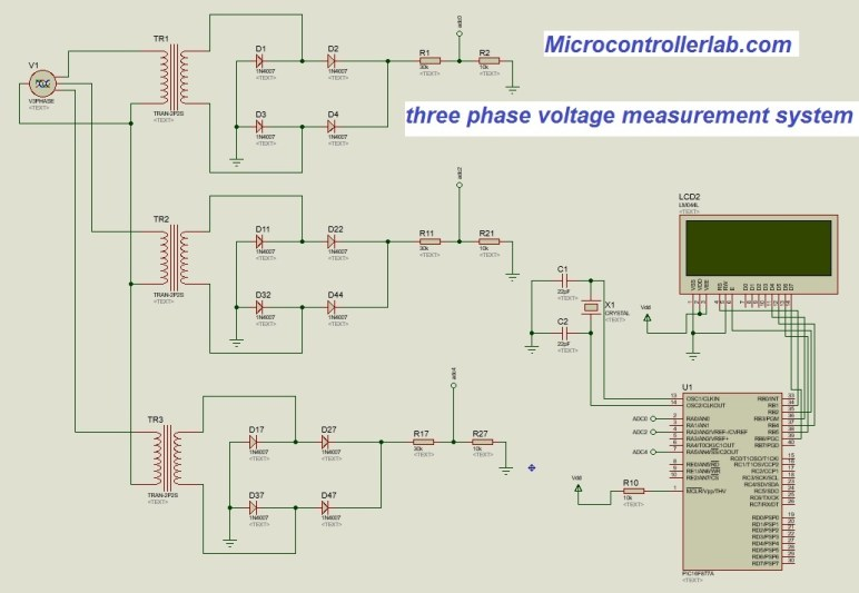 three phase voltge measurement using pic microcontroller