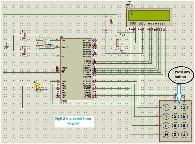 4x4 keypad interfacing with 8051 microcontroller