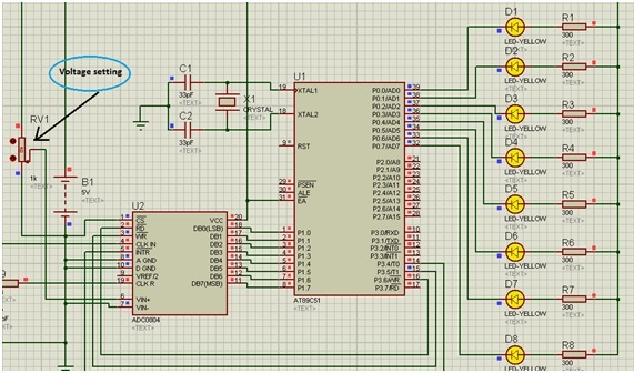 ADC interfacing with 8051 microcontroller full voltage