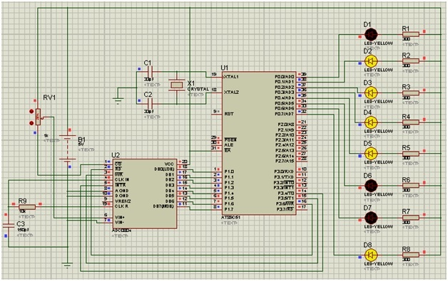 ADC interfacing with 8051 microcontroller simulation results