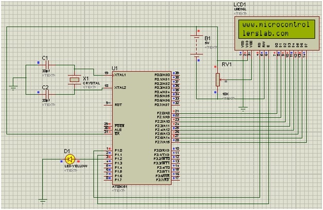 INTERFACING LCD WITH 8051 MIROCONTROLLER with code